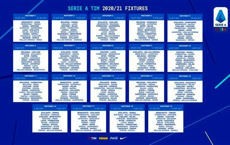 Calendario serie A 2020 2021 Genoa Sampdoria Spezia con date derby