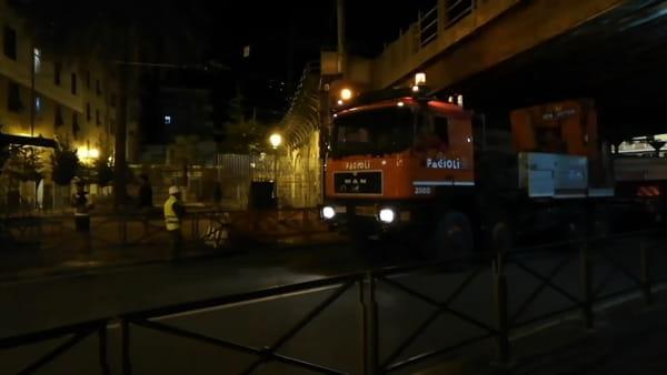 Nuovo ponte, trasporto eccezionale in transito a Sampierdarena Video