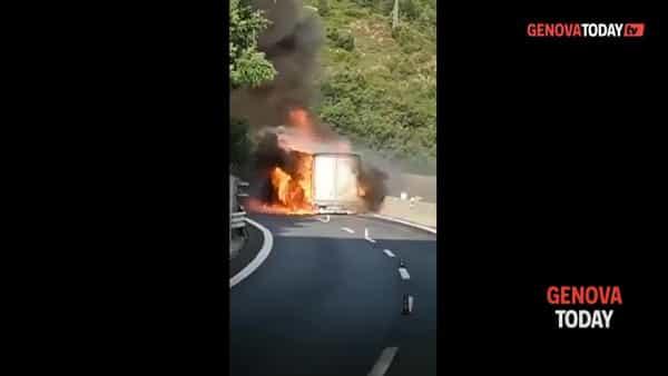VIDEO | A10, camion divorato dalle fiamme tra Albisola e Savona