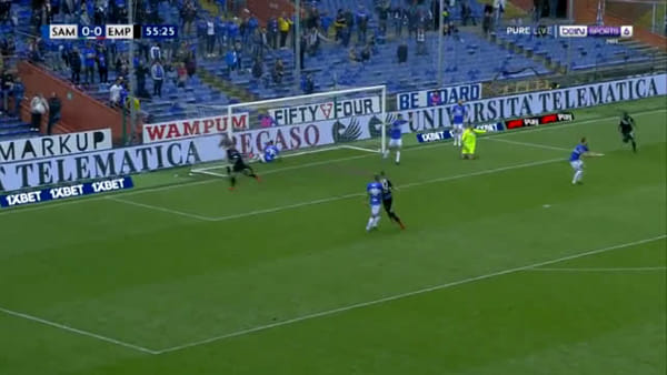 Video gol e sintesi partita Sampdoria-Empoli 1-2, gol di Farias, Di Lorenzo e Quagliarella