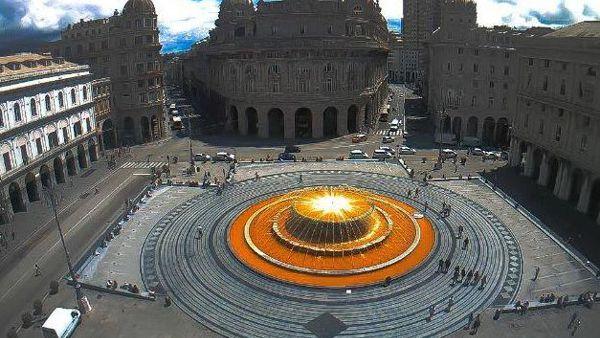 Fontana arancione a De Ferrari per la Giornata mondiale della Sclerosi Multipla