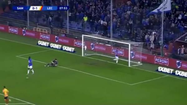 Video gol e sintesi partita Sampdoria-Lecce 1-1, gol di Lapadula e Ramirez