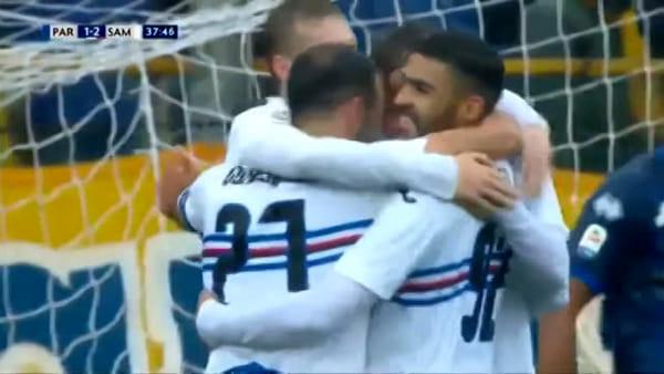 Video gol e sintesi partita Parma-Sampdoria 3-3, gol di Gazzola, Quagliarella, Defrel, Kucka e Bastoni