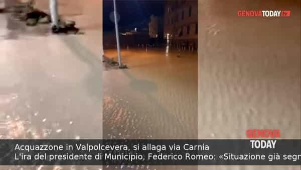 VIDEO | Acquazzone sulla Valpolcevera, si allaga via Carnia